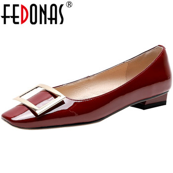 FEDONAS Elegant Shallow Pointed Toe Thick Heels Pumps Genuine Leather Metal Decoration Women Shoes Wedding Party Shoes Woman