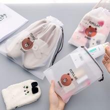 Коричневый медведь прозрачный косметический пакет дорожный кейс для косметики для женщин на молнии Make Up банный Органайзер сумка для хранения туалетные принадлежности, мытье Beaut Kit