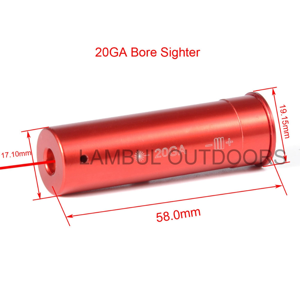 20 GAUGE Cartridge Laser Bore Sighter Boresighter Red Sighting Sight Boresight Red Copper 20GA Hunting Laser Red Copper
