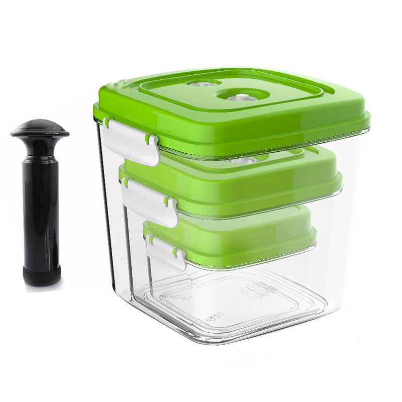 Vacuum Container Large Capacity Food Saver Storage Square Plastic Containers With Pump 500ML+1400ML+3000ML S166