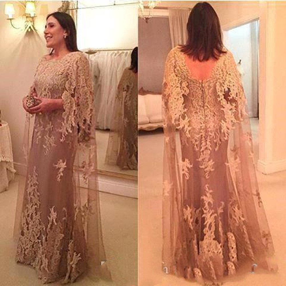 Hot Vintage Mother Of The Bride Dresses Jewel Neck Lace Appliques With Cape Sheath Long Plus Size Party Dress Wedding Guest Gown