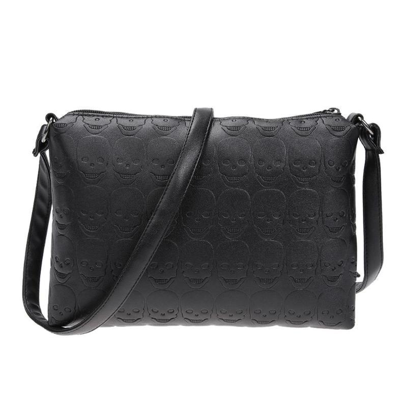 Small Shoulder Bag Women PU Leather Skull Zipper Envelope Messenger Handbag