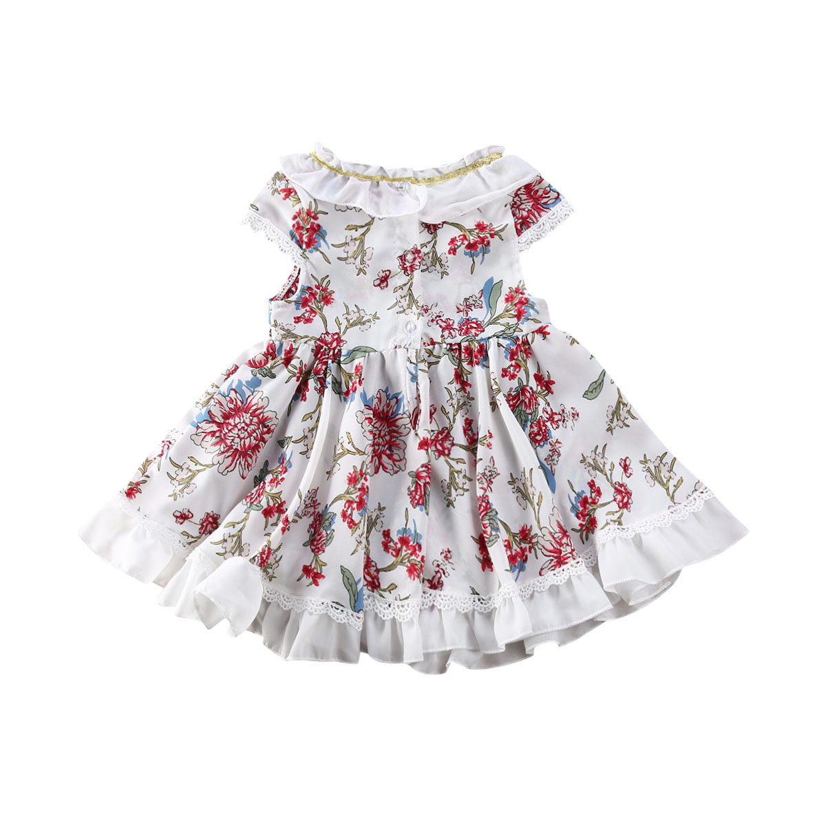KaiCran Fashion Toddler Baby Girls Striped Sleeveless Floral Print Sling Dress Adorable Outfits Clothes