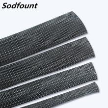 1/5/10/50/m preto isolado trança sleeving 2/4/6/8/10/12/15/20/25mm apertado pet cabo cabo cabo proteção glândula manga cabo