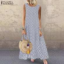 2021 yaz kolsuz Bohemian Polka Dot elbise ZANZEA kadınlar Vintage baskılı tankları Sundress elbise plaj uzun Vestido artı boyutu