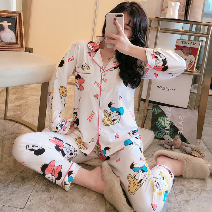 Korean-style New Style Cartoon Printed Pajamas WOMEN'S Cardigan Long Sleeve 180g Qmilch Homewear Set Southeast Asia
