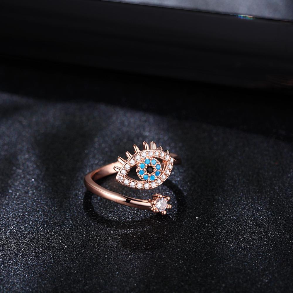SIPENGJEL Tiny Trendy Cubic Zirconia green Eye Rings Rose Gold black eye Adjustable Rings For Women Girls Luxury Wedding Jewelry 6