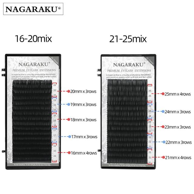 NAGARAKU Fast Ship 16rows/case 7~15mm mix premium natural synthetic mink individual eyelash extension makeup maquiagem cilios 3