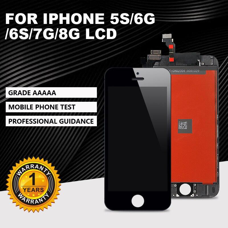 AAAA + + + seviye lcd ekran iPhone 5s 6G 6S 7G 8G 'touchscreen sayısallaştırıcı meclisi. Hiçbir ölü açı piksel + hediye