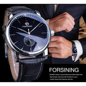 Image 3 - Forsining reloj mecánico minimalista para hombre, esfera negra delgada, automático, informal, de cuero genuino, de pulsera, masculino