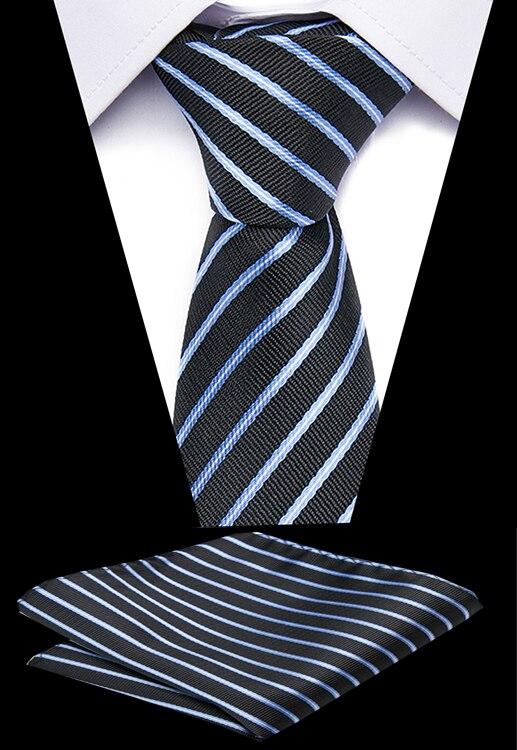 Fashion Mens Ties Blue 7.5 Cm 100% Silk Stripes DotsHandkerchief Necktie Set Formal Dress Wedding Mens Classic Ties