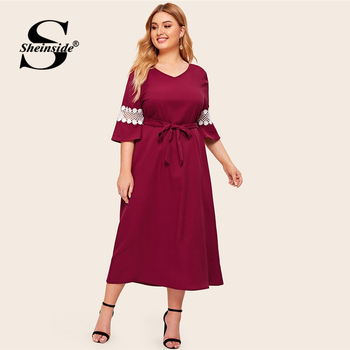 Sheinside Plus Size Elegant Lace Patchwork Half Sleeve Dress Women 2019 Autumn V Neck Belted Dresses Ladies Straight Dress
