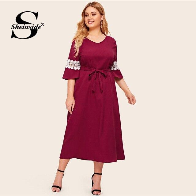 Sheinside Plus Size Elegant Lace Patchwork Half Sleeve Dress Women 2019 Autumn V Neck Belted Dresses Ladies Straight Dress