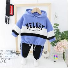 2019 Autumn Winter Baby Infant Clothes Suits Toddler Boys Clothing Sets Striped Hooded Letter Coat Pants Kids Children Costume autumn winter kids boys clothing set hooded letter printed thick fleece red black hoodies and pants children christmas clothes