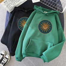 Sol e lua hoodie moletom com capuz das mulheres do vintage inverno harajuku oversize senhoras gótico solto moletom streetwear hoodies