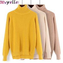 Winter Warm Turtleneck Women Sweater Jumper Thick Ribbed Knitted Sweater Pullover Female Top 2019 Korean Ladies Basic Pullovers turtleneck ribbed jumper sweater