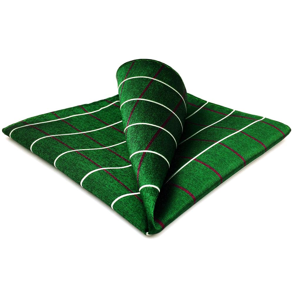 EH28 Dark Green Checkes Pocket Square Classic Handkerchief Large 12.6