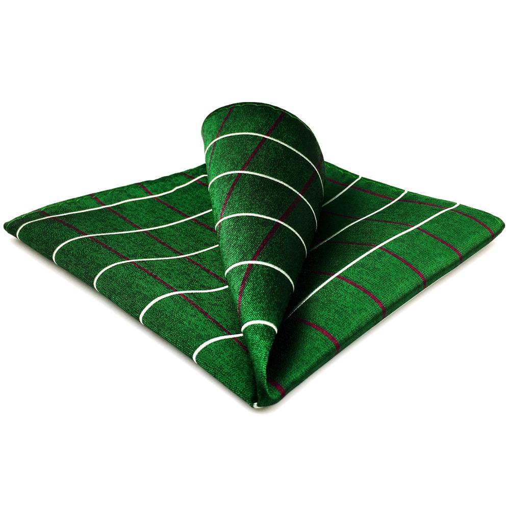 EH28 Dark Green Checkes Pocket Square Classic Handkerchief Large 12.6