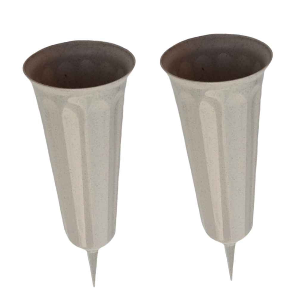 2-pack 26cm Stake In Ground Fluted Flower Vases Container for Lawn Garden