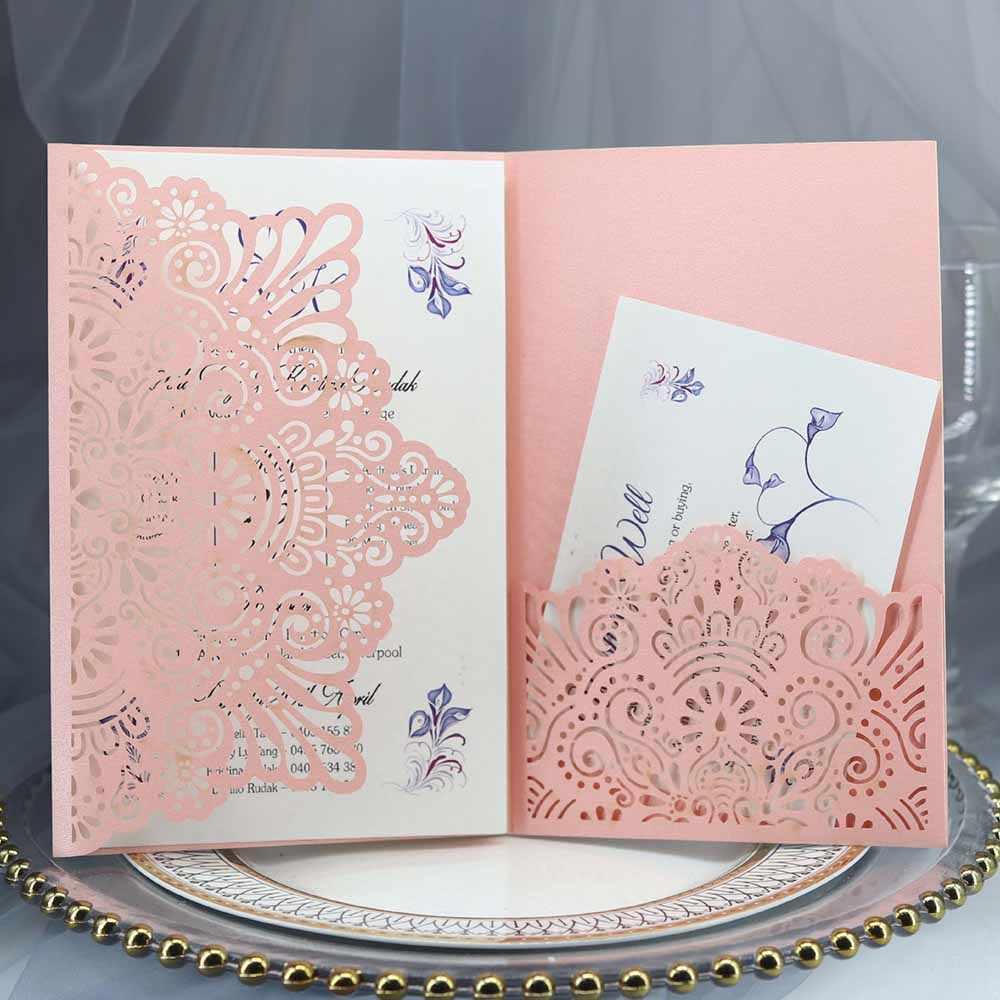10 sztuk niebieski biały elegancki Hollow laserowo wycinane zaproszenie ślubne kartka z życzeniami dostosuj biznes z kartka rsvp zaopatrzenie firm