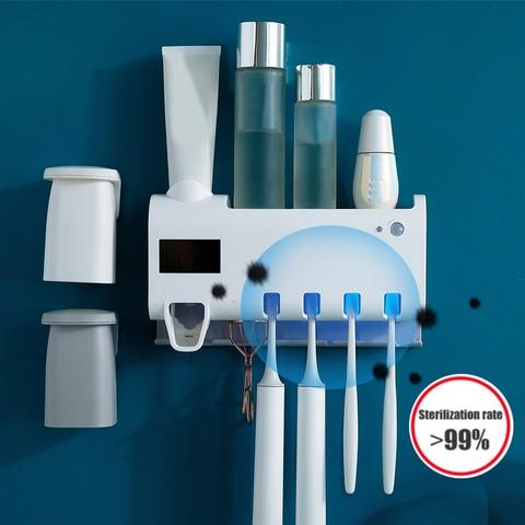 Escova de Dentes Esterilizador com Infravermelho de Indução de Carregamento Dispensador de Creme Conjunto de Banheiro Levou Ultravioleta Solar Automático Dental Mais Novo