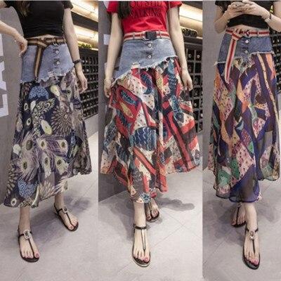 2019 Irregular denim stitching chiffon floral long skirt women a word big swing high waist wild fashion print skirt female a1504