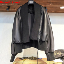 Jacket Thread Genuine-Leather Coat Sheep Women's Fashion Collar Short Cardigan Stitching