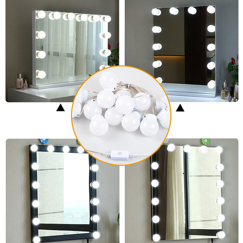 USB LED 5V Makeup Lamp Wall Light Beauty 2 6 10 14 Bulbs Kit For Dressing Table Stepless Dimmable Hollywood Vanity Mirror Light 6