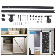 2M Sliding Door Barn Track Hardware Hanger Wood Barn Rail Hardware Sliding Door System Slide Kit Furniture Fittings