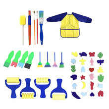 42pcs Painting Brushes Kit Sponge Drawing Shapes Paint Craft Brushes Sponge Drawing tool For Toddlers Assorted Pattern(China)