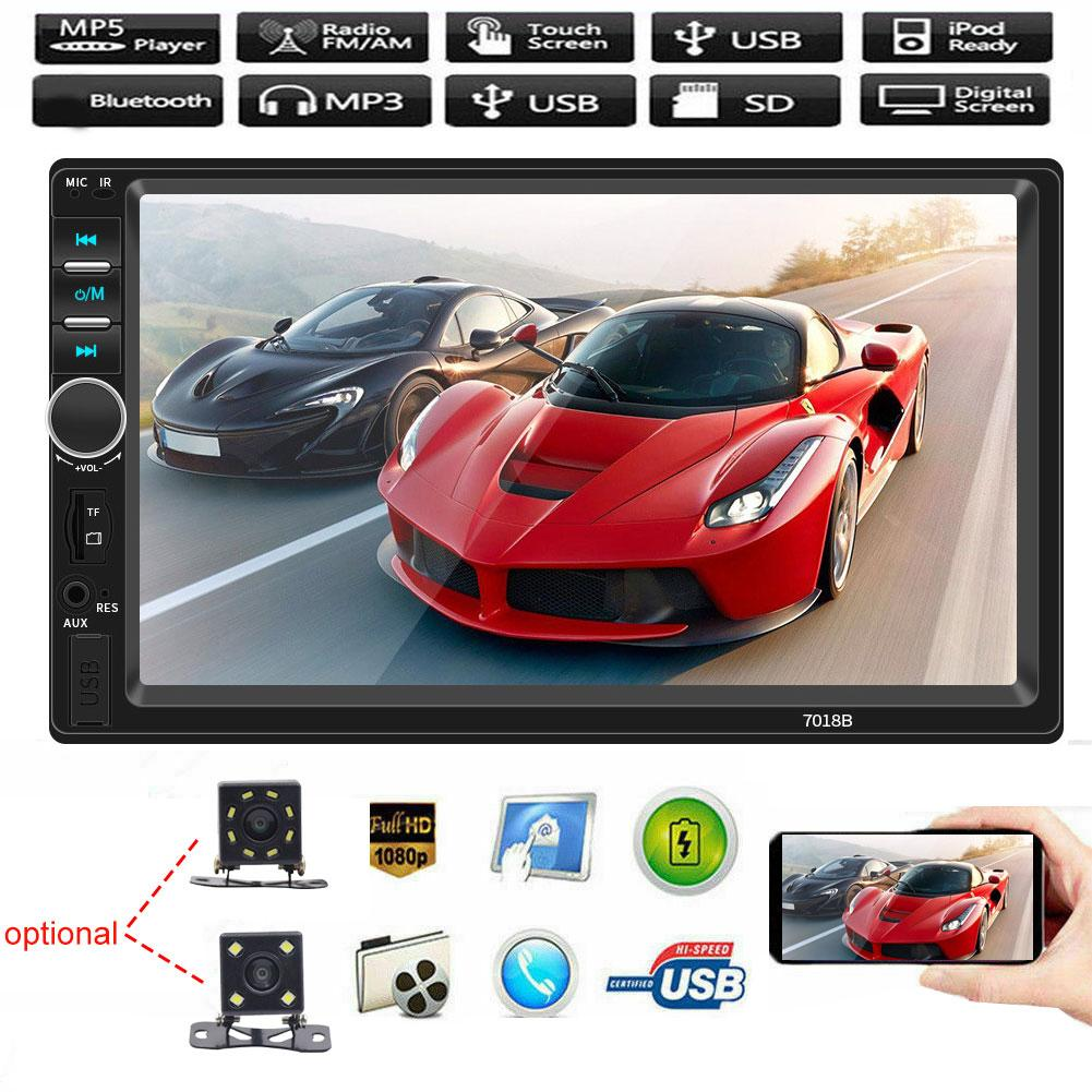 Car MP5 Player <font><b>7018B</b></font> 7 Inch <font><b>2DIN</b></font> Car FM Radio Bluetooth HD Reversing Camera USB/TF модулятор с блютуз беспроводная зарядка image