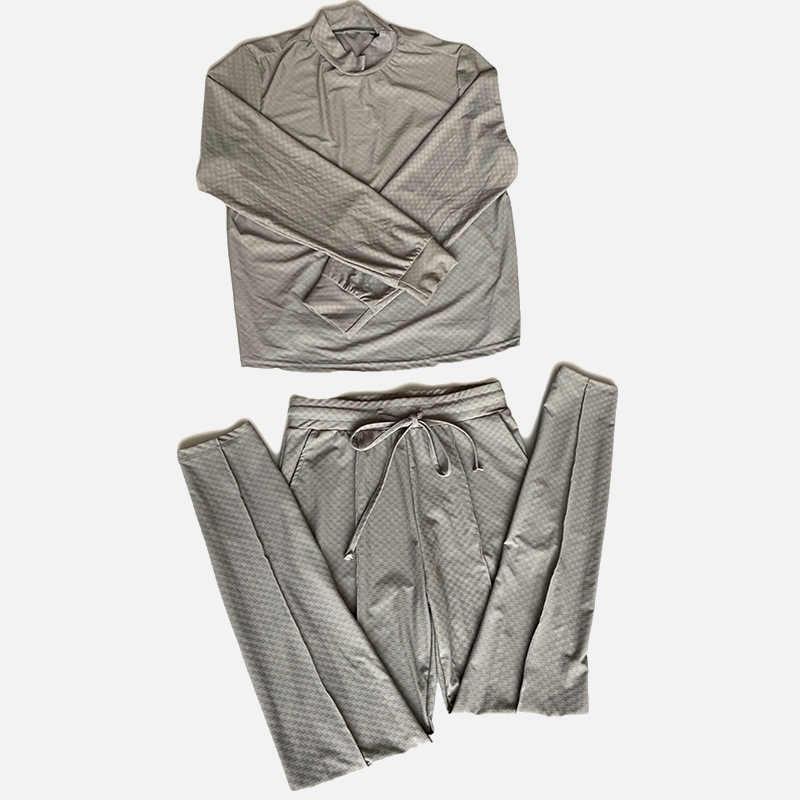 Slim חצי גולף מוצק משובץ נשים סטים ארוך שרוול חולצות + תחרה עד כיסי מכנסיים סתיו חורף אופנה נקבה Streetwear חליפות