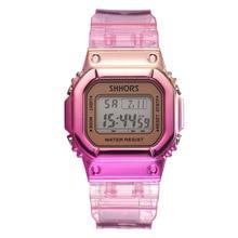 Rose Pink Women Sport Watch Waterproof Rubber Mix Color Digital Women's Watch Popular School Student Girls Gift Clock