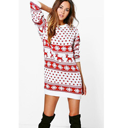 Sagace Clothes Winter Christmas Dress Women O Neck Cotton Dress Ladies Long Sleeve Sweetly Snowflake Printed Red Xmas Dress 3