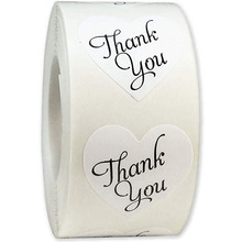 500pcs / roll  shaped heart thank you stickers seal label food packaging decoration scrapbook children stationery