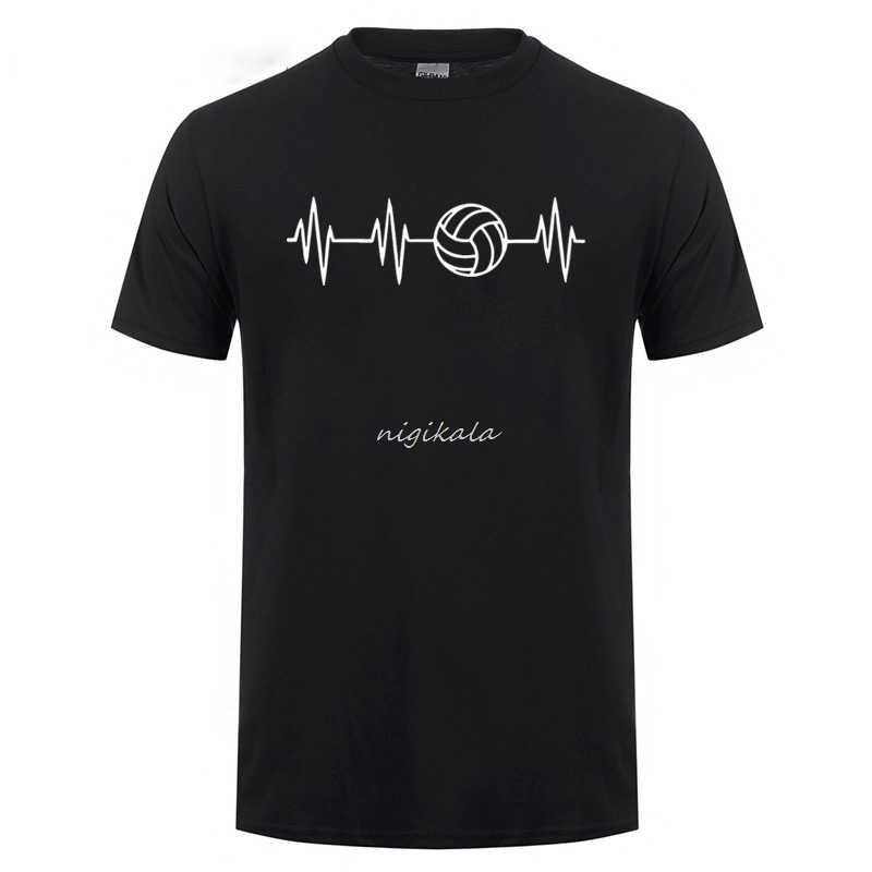 Latido del corazón de Volleyballer impreso T Shirt para hombres mujeres de manga corta de verano Camisetas Casual cuello redondo de gran tamaño camiseta divertida