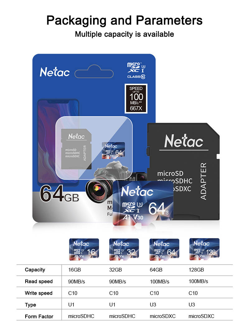 Netac Memory Card micro sd 128GB 32GB 16GB 100MB/S 64GB Micro SD Card адаптер sd Flash Card SD Card Hot Sale P500 5