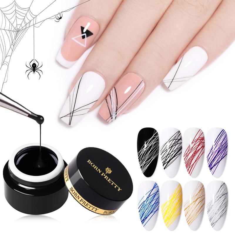 Гель-лак для ногтей BORN PRETTY, для рисования проволокой, креативный, точка-линия, искусственный паук, толстая искусственная кожа, 5 мл, 27 цветов