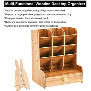 Image 3 - Organisateur multifonctionnel de bureau en bois, support de rangement pour fournitures de bureau et fournitures de bureau maison stylo bricolage boîte de support