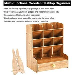 Image 3 - Wooden Desk Organizer Multi Functional DIY Pen Holder Box Desktop Stationary Home Office Supply Storage Rack