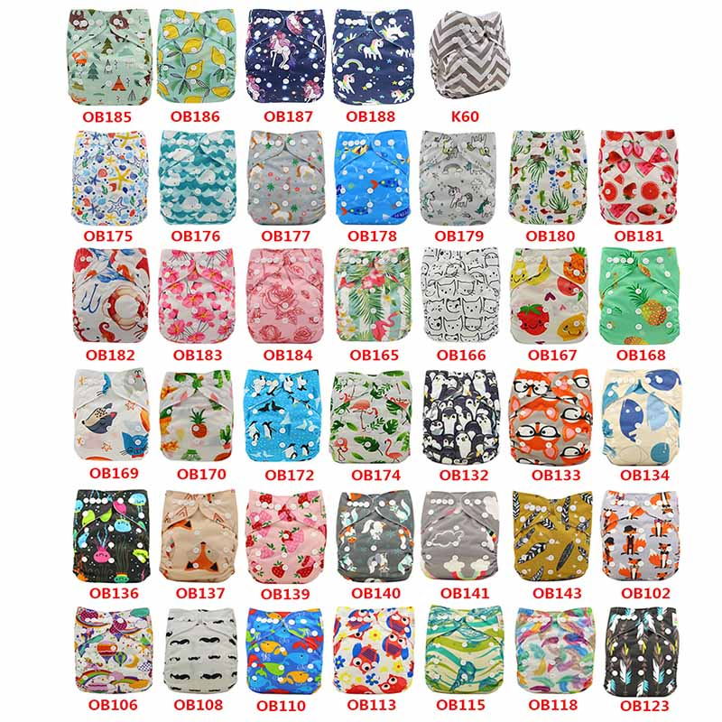 20 Pack Washable Baby Cloth Diaper Cover Pattern Printed Adjustable Soft Newborn Nappy Cover Reusable Cloth Diapers Suit 3-15kg