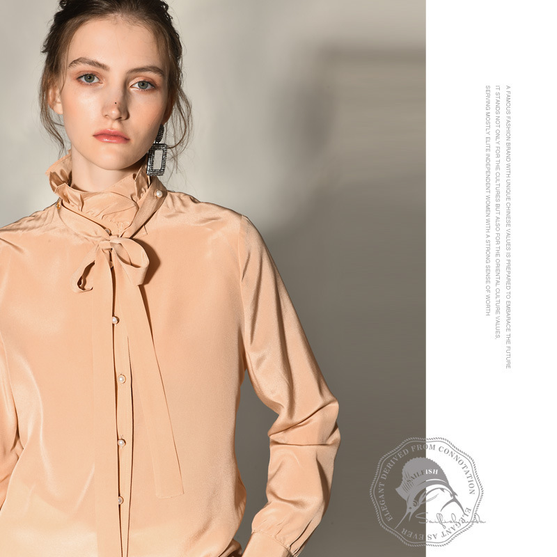 flesh silk chiffon blouse for women high quality long sleeve plus size casual sexy office dress shirts bow tie loose drop ship