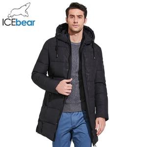 Image 1 - ICEbear 2019 Mens חורף מעיילי אמצע ארוך חלק מתכת רוכסן צווארון עומד פשוט נאה חורף מעיל גברים 17MD933D