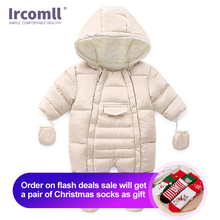 Ircomll新生児の少年少女の冬ロンパース幼児幼児長袖ジャンプスーツコットンベビー衣装クロール子供服コスト