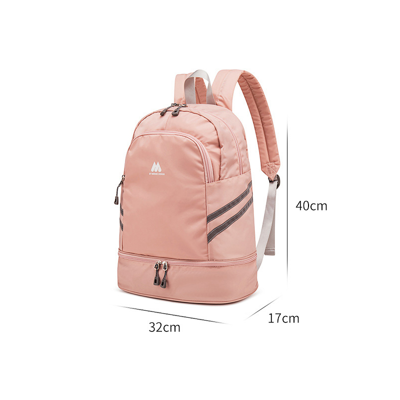 Image 3 - Women Pink Sport Gym Bag Waterproof Fitness Swimming Backpack Yoga Training Bag Shoe Compartment Travel Luggage Bag Sac De SportGym Bags   -