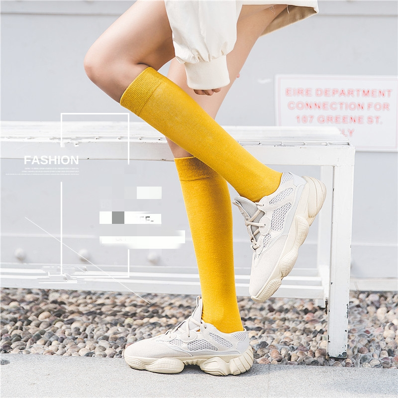 1 Pair Women's Socks Autumn Winter Fashion Long Socks Preppy Style Knee Socks Solid Color High Elastic