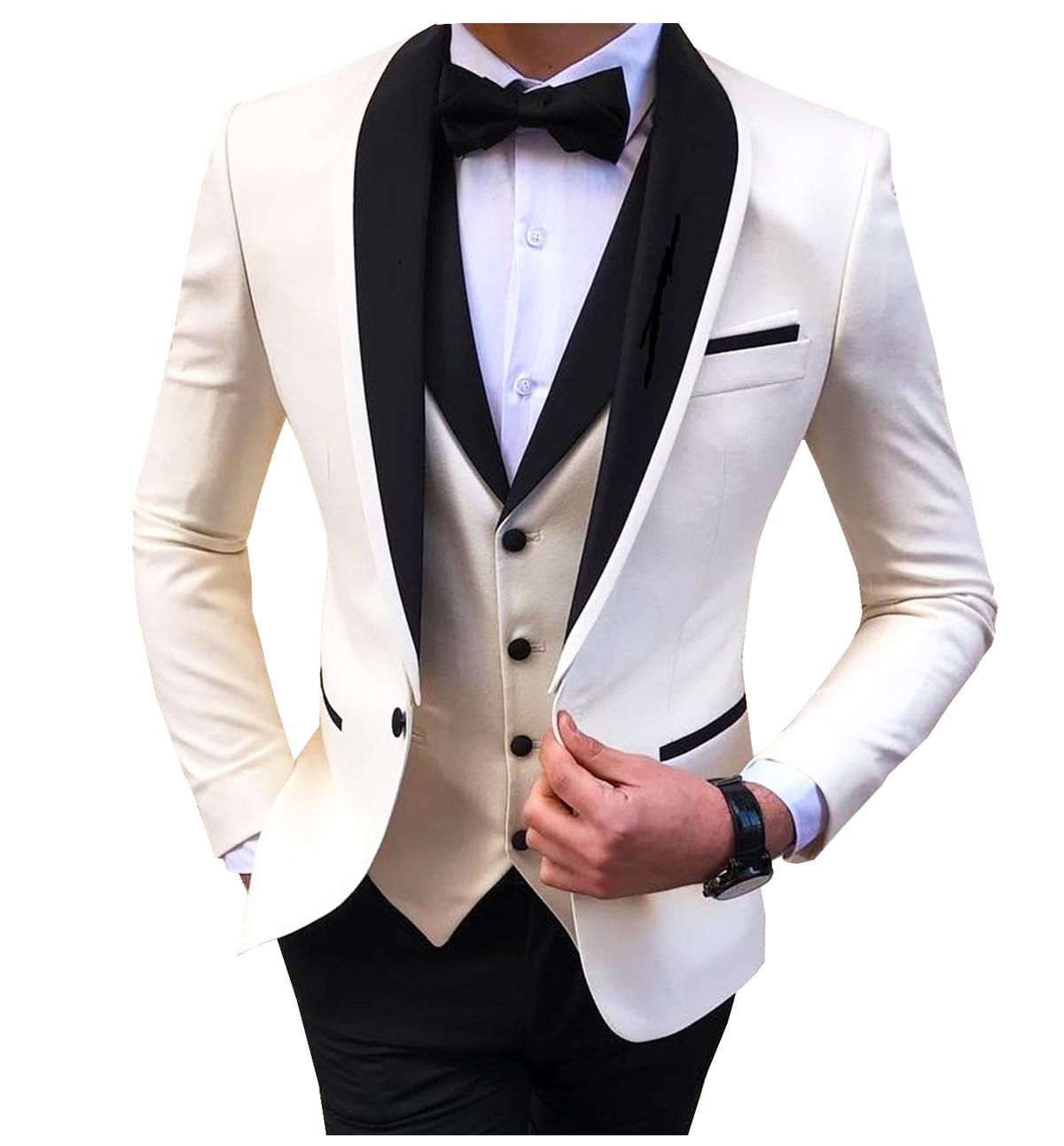 Blue slit mens suits 3 piece black shawl lapel casual tuxedos for wedding groomsmen suits men 2020 (blazer+vest+pant) 4