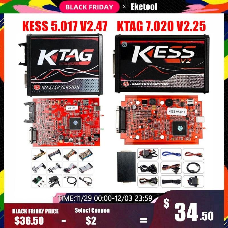 Online Red V2.47 KESS V5.017 V2 KTAG V7.020 V2.25 4LED No Token OBD2 Manager K-TAG 7.020 KESS V2 Master ECU Upgrade Programmer