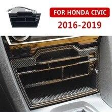 Pcmos ABS karbon Fiber İç konsol saklama kutusu için USB ile Honda Civic 2016 2019 iç aksesuar Stowing Tidying