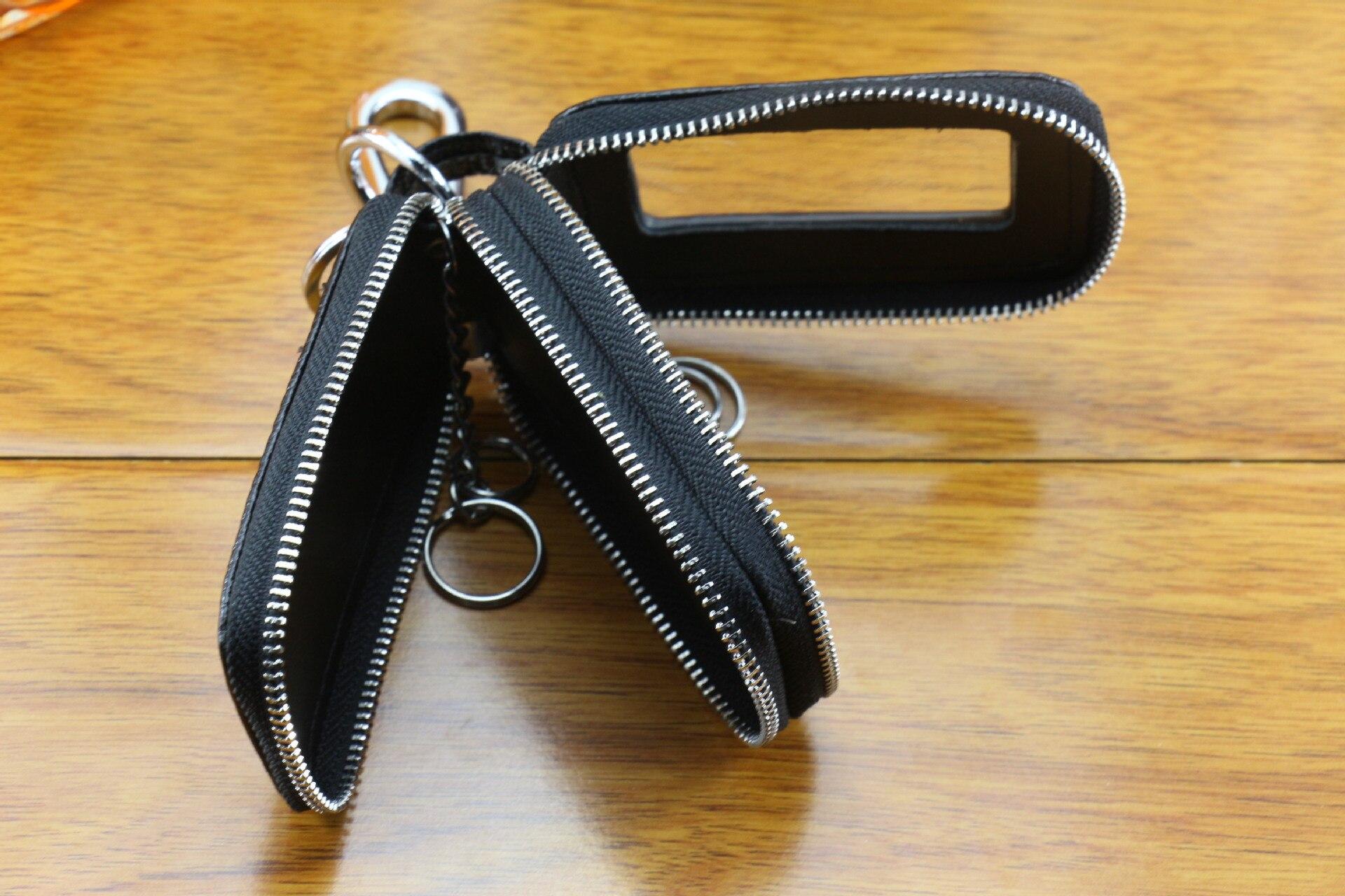 Classic Fashion Leather Men's Double Zipper Car Key Wallet Women's Simple Keychain Fashion Butler Keychain